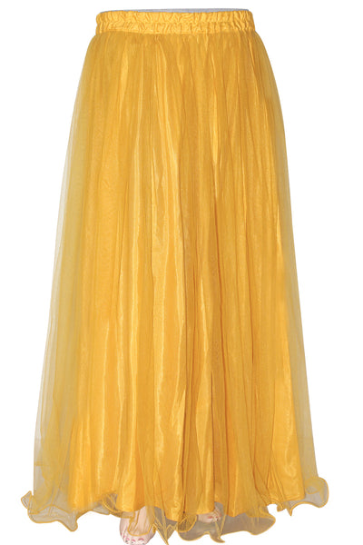 Mustard Color, Flare Bottom, Elastic Waist Women's Floor Length Skirt
