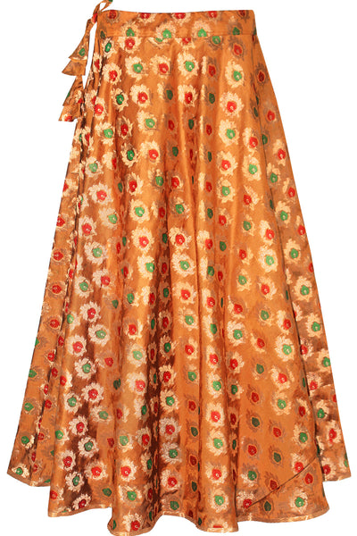 Shop online for designer Indian Banarasi Lehenga skirts at the best rates in USA & Canada. Mustard Orange Art Jacquard Silk flared skirt golden zari betel leaf embroidery umbrella cut drawstring closure chanderi ethnic traditional dresses festivals weddings party wear multi color handmade bridesmaid shiny Sale Darpaha