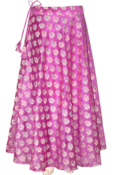 Hot-Pink Color Handloom Jacquard Art Silk, Umbrella Cut, Women's Long Skirt