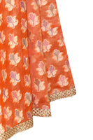 Shop online for designer Indian Banarasi Lehenga skirts at the best rates in USA & Canada. Peach Orange Art Jacquard Silk flared skirt golden zari betel leaf embroidery umbrella cut drawstring closure borders chanderi ethnic traditional festivals weddings party wear multicolor handmade bridesmaid shiny Sale Darpaha