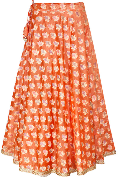 Orange Color Handloom Jacquard Art Silk, Umbrella Cut, Women's Long Skirt