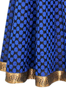 Shop online for designer Indian Banarasi Lehenga skirts at the best rates in USA & Canada. Blue black Art Jacquard Silk flared skirt zari motif embroidery drawstring closure chanderi ethnic golden lace hem borders traditional dresses festivals weddings party wear multi color handmade pendants bridesmaid Sale Darpaha