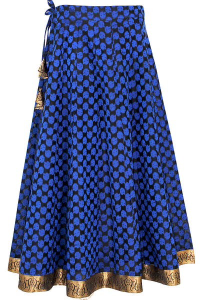 Black and Blue Color Banarasi Handloom Art Silk, Umbrella Cut, Lehenga Skirt HMS19609