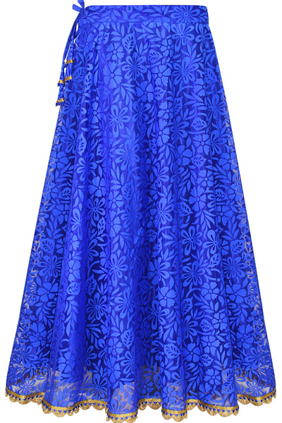 Shop online for designer Indian Banarasi Lehenga skirts at the best rates in USA & Canada. Royal Bright Blue Dark flared skirt floral brasso net elastic waist ethnic golden lace hem borders umbrella cut flared wide traditional dresses festivals weddings party wear free size handmade pendants bridesmaid Sale Darpaha