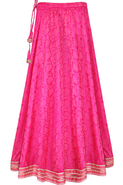 Pink Color Jacquard Silk Women's Umbrella Cut, Elastic Waist Long Skirt