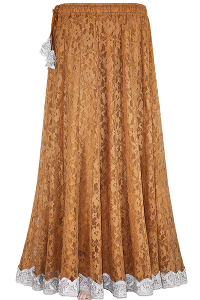 Brown Color Flowered Net/lace, Umbrella Cut Kalidar Long Skirt with heavy borderline