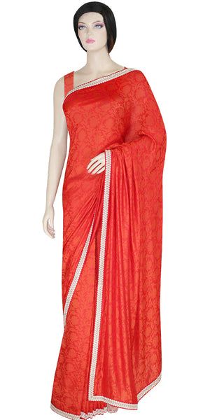 Shop online for designer Indian Pre-Stitched Ready To Wear Sarees/Saris at the best rates in USA & Canada. Bright Red Viscose Silk floral patterns sari cream crochet border fall matching ethnic traditional wedding party festival fashion evening occasion dress function stylish bridesmaid buy embroidery Darpaha Sale