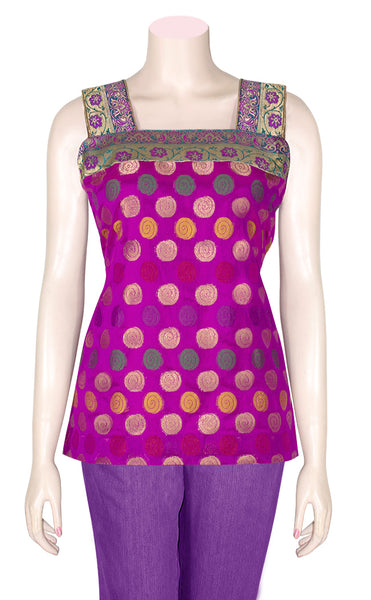 Purple Color Square Neck, Fancy Sleeveless, Art Silk Tunic Tops Blouse HMT182107
