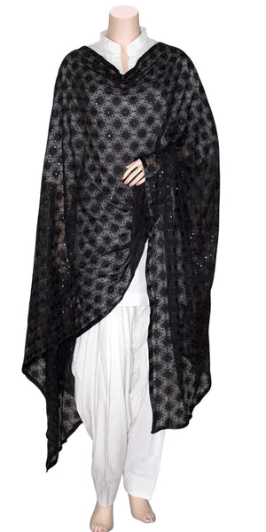 Black Color Phulkari Embroidered Georgette Dupatta/Stole with Black Ribbon on edges