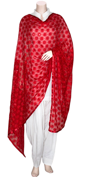 Red Color Phulkari Embroidered Georgette Dupatta/Stole with Red Ribbon on edges