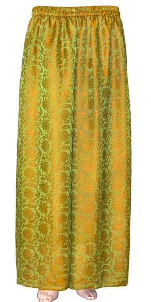 Olive & Goldenrod color combination wide-legged pants/trouser, Jacquard Art Silk Palazzo Pants