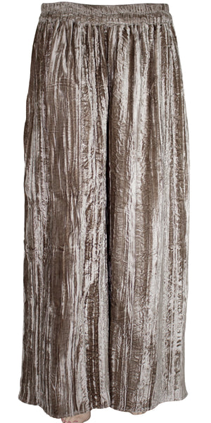 Soft & fine Quality Silver Gray Color Crushed Velvet wide-legged Style Palazzo Pants