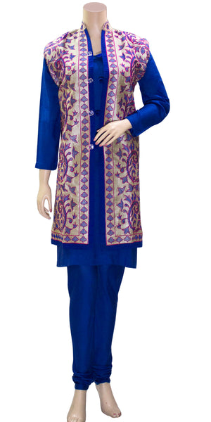 Shop designer Indian 3 Piece Suits with Jackets at the best rates in the USA & Canada. Blue Rayon Kurti Pajami floral purple Khadi Silk Sleeveless jacket top Punjabi Phulkari hand embroidered buttons long length borders Ethnic traditional wedding party wear handmade custom formal fashion BOHO stylish Darpaha buy sale