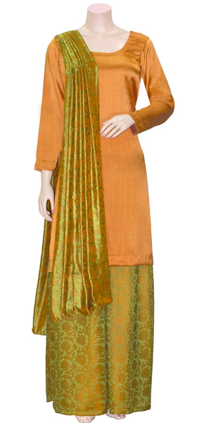 Olive Green & Dark Orange color combination, Designer jacquard Art-Silk 3 pcs Palazzo Suit/Dress