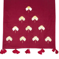 Maroon Color Phulkari Hand Embroidered Cotton Scarf/Hijab/Tippets