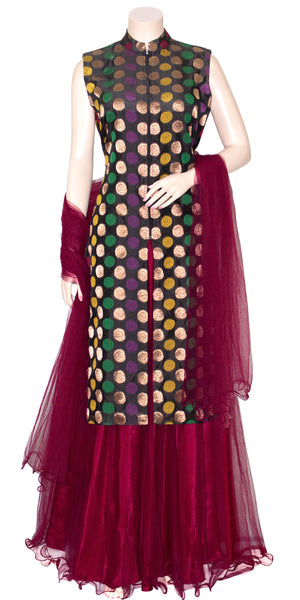 Buy designer Indian Banarasi Lehenga dresses at the best rates in USA & Canada. Black Art Silk zari motif embroidery sleeveless long kurti maroon net flared skirt jacket collar front open zipper lightweight comfortable ethnic traditional dresses style festivals weddings party wear custom pieces multi color Sale Darpaha