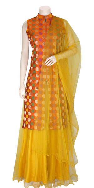 Buy designer Indian Banarasi Lehenga dresses at the best rates in USA & Canada. Orange Art Silk zari motif embroidery sleeveless long kurti Yellow net flared skirt jacket collar front open zipper lightweight comfortable ethnic traditional dresses style festivals weddings party wear custom pieces multicolor Sale Darpaha