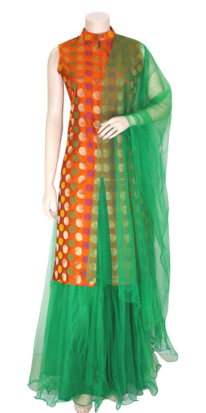 Buy designer Indian Banarasi Lehenga dresses at the best rates in USA & Canada. Orange Art Silk zari motif embroidery sleeveless long kurti green net flared skirt jacket collar front open zipper lightweight comfortable ethnic traditional dresses style festivals weddings party wear custom pieces multi color Sale Darpaha