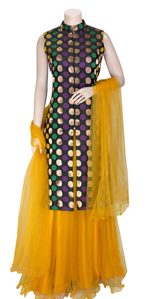 Black Banarasi Silk Long Kurti with Mustard Color Net Long Skirt and Dupatta