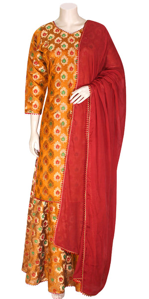 Shop online for designer Indian Banarasi Lehenga dresses at the best rates in USA & Canada. Mustard Art Jacquard Silk flared skirt zari motif embroidery full sleeve short kurti top red net dupatta ethnic golden print borders traditional dresses for festivals weddings party wear custom multi color handmade Sale Darpaha