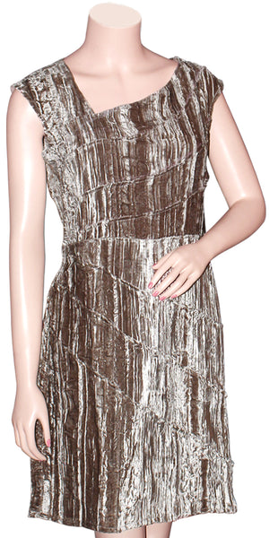 Beige & Silver Crushed Velvet Dress