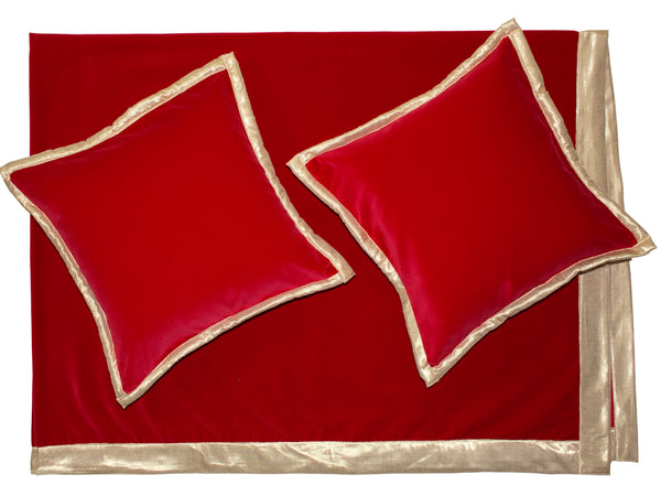 Red Color Cotton Velvet Throw with Two Cushion Covers having gold color all over borders