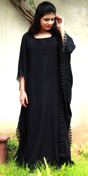 Black Long Kaftan Dress/Maxi/Gown