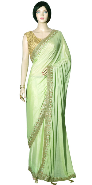 Shop online for designer Indian Sarees/Saris at the best rates in USA & Canada. Pistachio Green Chinon Chiffon sari heavy golden zari border embroidery petticoat fall matching ethnic traditional wedding party festival fashion evening occasion outfit dress function stylish bridesmaid buy figure body hugging Darpaha Sale