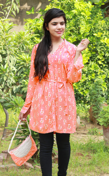 Peach Floral Print Full Sleeve Kurti/Tunic with Matching Purse