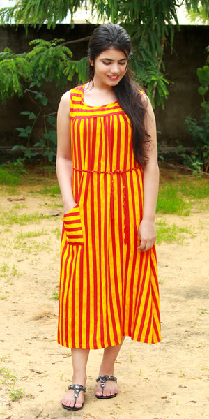 Red & Yellow Striped Print Sleeveless Dress