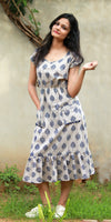 Shop online for designer Indo-western Boho dresses at the best rates in the USA & Canada. Long dress cream indigo tree print pure cotton fabric. Below knee length half sleeves fit & flare pockets frock style pleated Comfortable Unique ethnic Summer wear dress fashionable chic modern contemporary stylized Darpaha Sale
