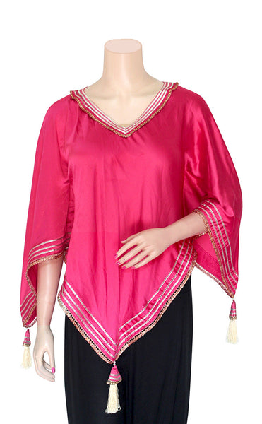 Hot Pink Silky Poncho Top