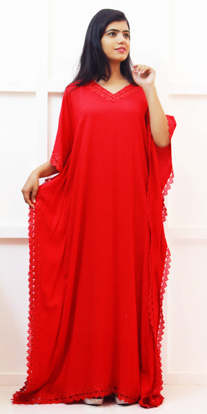 Buy designer Kaftan fashion dresses, gowns & Maxis at the best rates in the USA & Canada. Long dress in soft bright Red Rayon fabric. Full Sleeves, Stylized lace neck, Casual evening dress occasion wear Fit and Flare, A-line Dress Islamic Fashion Comfortable Solid color Kaftan Loose top Boho Hippie Shop Darpaha Sale