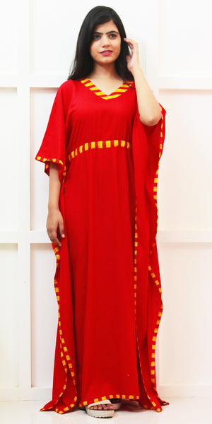 Buy designer Kaftan fashion dresses, gowns & Maxis at the best rates in the USA & Canada. Long dress in soft bright Red Rayon fabric. Full Sleeves, Stylized striped neck, Casual evening dress occasion wear Fit and Flare, A-line Dress Islamic Fashion Comfortable Solid color Kaftan Loose top Boho Hippie Shop Darpaha Sale