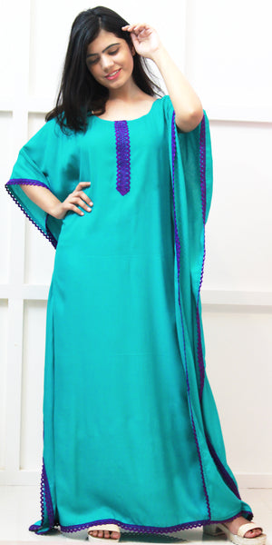 Buy designer Kaftan fashion dresses, gowns & Maxis at the best rates in the USA & Canada. Long dress in soft bright turquoise blue fabric. Full Sleeves Stylized lace neck Casual evening dress occasion wear Fit and Flare, A-line Dress Islamic Fashion Comfortable Solid color Kaftan Loose top Boho Hippie Shop Darpaha Sale