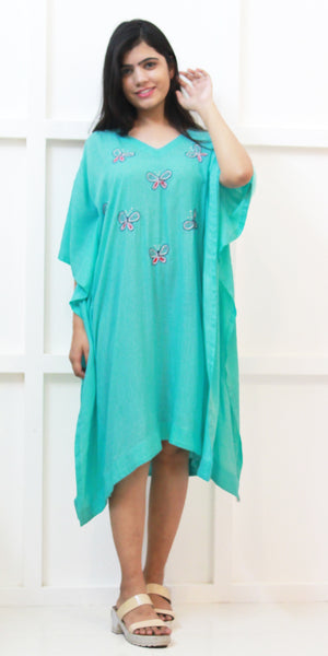 Buy designer Kaftan fashion dresses, gowns & Maxis at the best rates in the USA & Canada. Long knee length dress in soft blue Rayon fabric. Full Sleeves V-neck embroidered butterflies Casual evening dress occasion wear Fit and Flare, A-line Dress Islamic Fashion Comfortable Solid Loose top Boho Hippie Shop Darpaha Sale