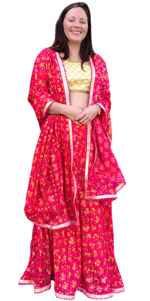 Buy designer Indian phulkari hand embroidered lehenga choli dresses at the best rates in the USA & Canada. Pink Punjabi Phulkari Umbrella cut skirt & dupatta with sequins work cap sleeve half sleeve golden blouse flared Ethnic traditional wedding party drawstring chic festival occasion ethnic bridesmaid Darpaha Sale