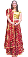 Buy designer Indian phulkari hand embroidered lehenga choli dresses at the best rates in the USA & Canada. Red Punjabi Phulkari Umbrella cut skirt & dupatta with sequins work cap sleeve half sleeve golden blouse flared Ethnic traditional wedding party drawstring chic festival occasion ethnic bridesmaid Darpaha Sale