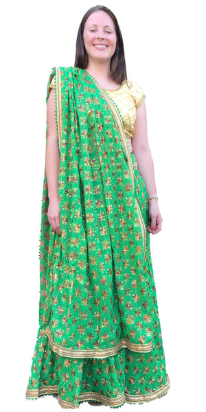 Buy designer Indian phulkari hand embroidered lehenga choli dresses at the best rates in the USA & Canada. Green Punjabi Phulkari Umbrella cut skirt & dupatta with sequins work cap sleeve half sleeve golden blouse flared Ethnic traditional wedding party drawstring chic festival occasion ethnic bridesmaid Darpaha Sale