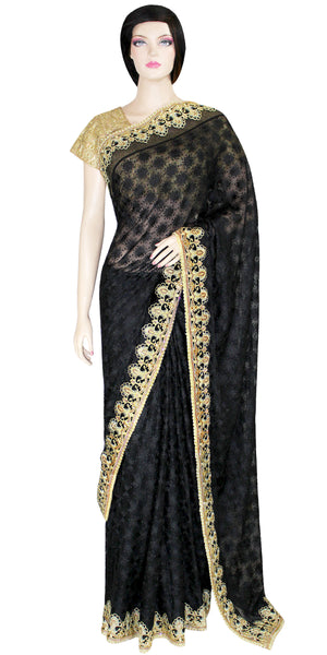 Black Phulkari embroidered Saree with Gold heavy work Border JRS2658