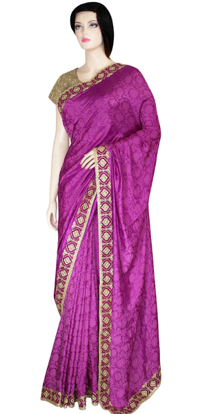 Purple color viscose Art silk Saree/sari with heavy work Border JRS2674