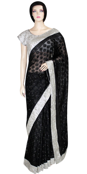 Black Phulkari Embroidery Saree with Silver color Handmade border JRS2684