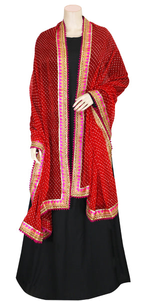Buy designer Jaipuri Leheriya dupattas, stoles & chunnis at the best rates in the USA & Canada. Bright Red Chiffon dupatta tie & dye golden gotta patti border. Ethnic Indian traditional wedding party festival fashion suit wrap accessories handloom light elegant handwork trendy anniversary design stylish shop online