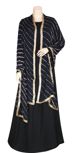 Buy designer Jaipuri Leheriya dupattas, stoles & chunnis at the best rates in the USA & Canada. Black & Gold Chiffon dupatta tie & dye golden gotta patti border. Ethnic Indian traditional wedding party festival fashion suit wrap accessories handloom light elegant handwork trendy anniversary design stylish shop online