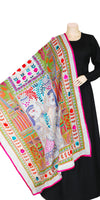Multi Color Kantha Embroidery Cotton Silk Dupatta