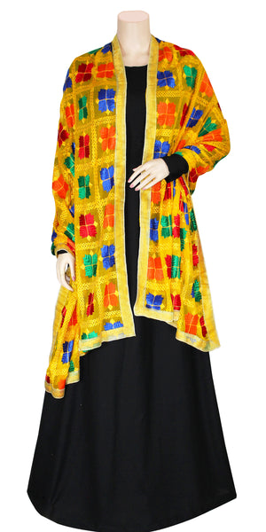 Buy designer Indian handmade punjabi phulkari embroidered dupattas, stoles & chunnis at the best rates in the USA & Canada. Yellow multi color Chiffon dupatta lace border. Ethnic Indian traditional wedding party festival fashion suit wrap accessories handloom light elegant handwork geometric design stylish shop online