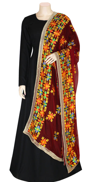 Buy designer Indian handmade punjabi phulkari embroidered dupattas, stoles & chunnis at the best rates in the USA & Canada. Maroon multi color Chiffon dupatta tissue silk lace border. Ethnic Indian traditional wedding party festival fashion wrap accessories handloom light elegant handwork design stylish shop online