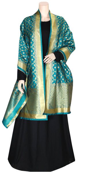 Shop online for designer Indian Banarasi dupattas at the best rates in USA & Canada. Cyan Teal Sea Green Art Jacquard Silk supatta golden zari work embroidery Chanderi  Ethnic Indian traditional wedding party festival fashion suit wrap accessories handloom elegant handwork trendy anniversary design stylish buy Darpaha