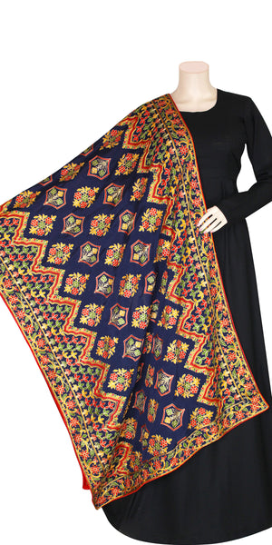 Dark Blue Multi Color Pashmina Shawl/Dupatta