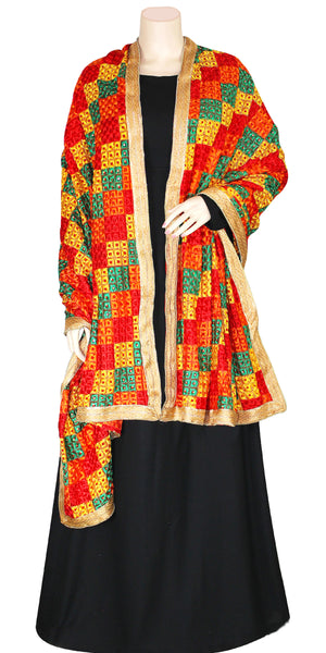 Buy designer Indian handmade embroidered bagh dupattas, stoles & chunnis at the best rates in the USA & Canada. Multi color Georgette dupatta golden lace border. Ethnic Indian traditional wedding party festival fashion suit wrap accessories handloom elegant handwork punjabi baag suit phulkari design shop online Darpaha